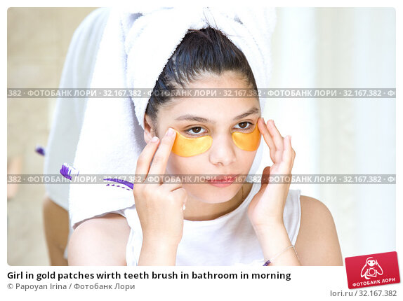 Купить «Girl in gold patches wirth teeth brush in bathroom in morning», фото № 32167382, снято 6 июля 2019 г. (c) Papoyan Irina / Фотобанк Лори