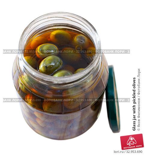 Glass jar with pickled olives. Стоковое фото, фотограф Яков Филимонов / Фотобанк Лори