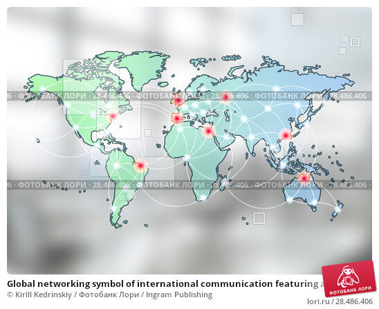 Купить «Global networking symbol of international communication featuring a world map concept with connecting technology communities using computers and other digital devices», фото № 28486406, снято 31 октября 2011 г. (c) Ingram Publishing / Фотобанк Лори