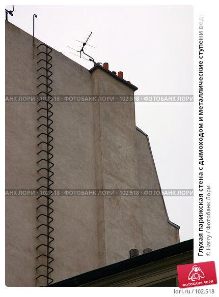 Купить «Глухая парижская стена с дымоходом и металлические ступени ведущие вверх», фото № 102518, снято 23 апреля 2018 г. (c) Harry / Фотобанк Лори