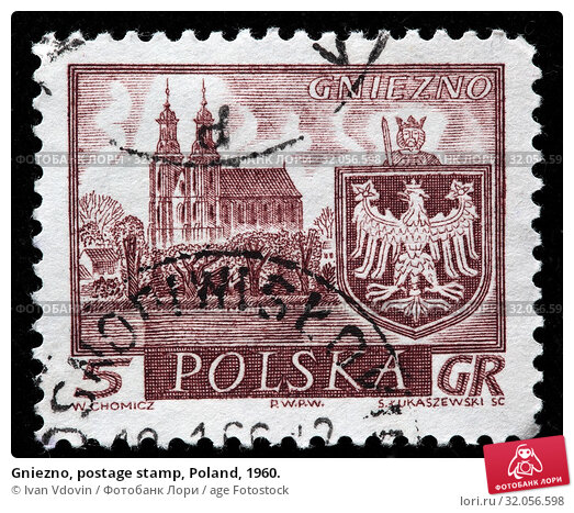 Gniezno, postage stamp, Poland, 1960. (2010 год). Редакционное фото, фотограф Ivan Vdovin / age Fotostock / Фотобанк Лори