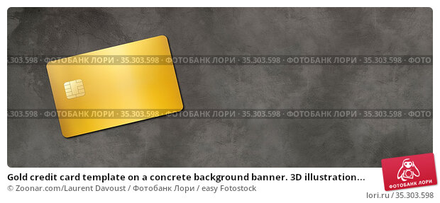 Gold credit card template on a concrete background banner. 3D illustration... Стоковое фото, фотограф Zoonar.com/Laurent Davoust / easy Fotostock / Фотобанк Лори