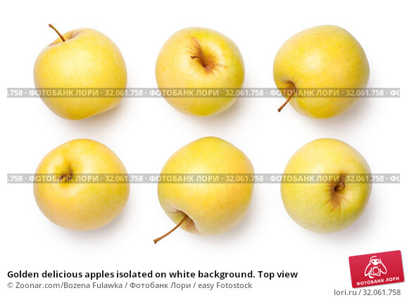 Golden delicious apples isolated on white background. Top view. Стоковое фото, фотограф Zoonar.com/Bozena Fulawka / easy Fotostock / Фотобанк Лори