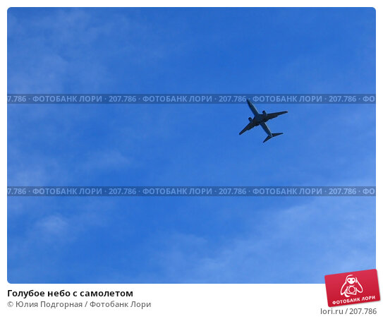 Купить «Голубое небо с самолетом», фото № 207786, снято 10 марта 2007 г. (c) Юлия Селезнева / Фотобанк Лори
