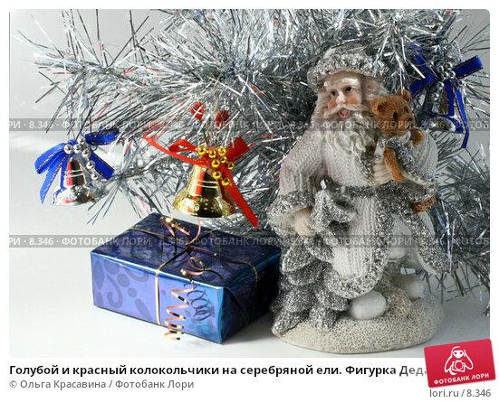 Голубой и красный колокольчики на серебряной ели. Фигурка Деда-Мороза и подарок. На белом, фото № 8346, снято 3 сентября 2006 г. (c) Ольга Красавина / Фотобанк Лори