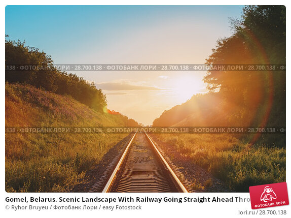 Купить «Gomel, Belarus. Scenic Landscape With Railway Going Straight Ahead Through Summer Hilly Meadow To Sunset Or Sunrise In Sunlight. Lense Flare Effect.», фото № 28700138, снято 11 июня 2016 г. (c) easy Fotostock / Фотобанк Лори