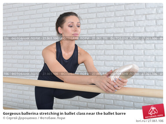 Купить «Gorgeous ballerina stretching in ballet class near the ballet barre», фото № 27061106, снято 26 апреля 2018 г. (c) Сергей Дорошенко / Фотобанк Лори