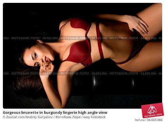Gorgeous brunette in burgundy lingerie high angle view. Стоковое фото, фотограф Zoonar.com/Andrey Guryanov / easy Fotostock / Фотобанк Лори