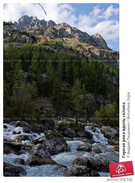 Купить «Горная река вдоль склона», фото № 310102, снято 25 апреля 2018 г. (c) Андрей Пашкевич / Фотобанк Лори
