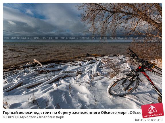 Горный велосипед стоит на берегу заснеженного Обского моря. Обское море, Бердск, Новосибирская область, Россия - 13 ноября, 2020. Стоковое фото, фотограф Евгений Мухортов / Фотобанк Лори
