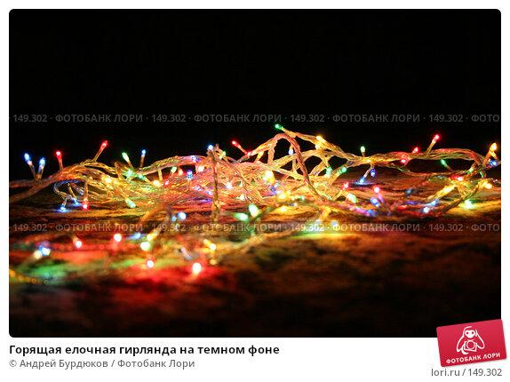 Горящая елочная гирлянда на темном фоне, фото № 149302, снято 28 декабря 2005 г. (c) Андрей Бурдюков / Фотобанк Лори