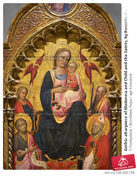 Купить «Gothic altarpiece of Madonna and Child and the Saints, by Rossello di Jacopo Franchi, from Florence, 1st quarter of 15th century. National Museum of Catalan Art, Barcelona, Spain, inv no: MNAC 15932.», фото № 28250178, снято 4 сентября 2013 г. (c) age Fotostock / Фотобанк Лори