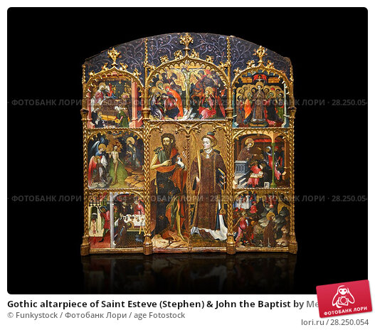 Купить «Gothic altarpiece of Saint Esteve (Stephen) & John the Baptist by Mestre de Bardalona, early 15th century, tempera and gold leaf on for wood from Santa...», фото № 28250054, снято 1 февраля 2017 г. (c) age Fotostock / Фотобанк Лори