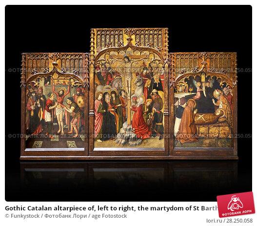 Купить «Gothic Catalan altarpiece of, left to right, the martydom of St Bartholomew, Calvaty and the deat of St Mary Magdelene, by Jaume Huguet, Barcelona circa...», фото № 28250058, снято 1 февраля 2017 г. (c) age Fotostock / Фотобанк Лори
