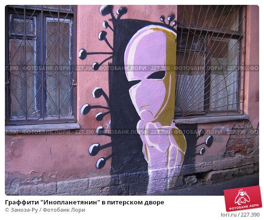 "Граффити ""Инопланетянин"" в питерском дворе, фото № 227390, снято 19 марта 2007 г. (c) Заноза-Ру / Фотобанк Лори"