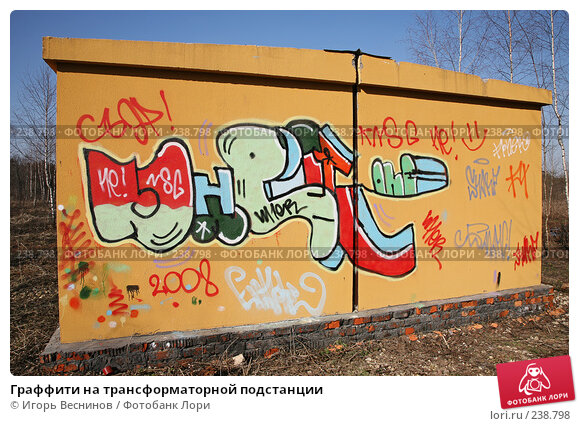 Граффити на трансформаторной подстанции, фото № 238798, снято 29 марта 2008 г. (c) Игорь Веснинов / Фотобанк Лори