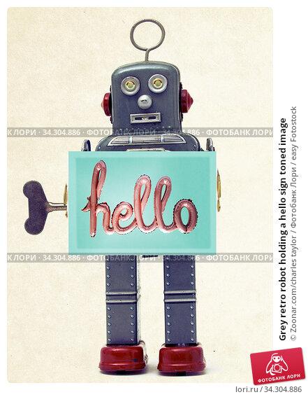 Grey retro robot holding a hello sign toned image. Стоковое фото, фотограф Zoonar.com/charles taylor / easy Fotostock / Фотобанк Лори