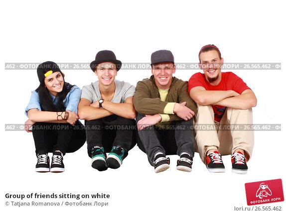 Купить «Group of friends sitting on white», фото № 26565462, снято 5 сентября 2012 г. (c) Tatjana Romanova / Фотобанк Лори