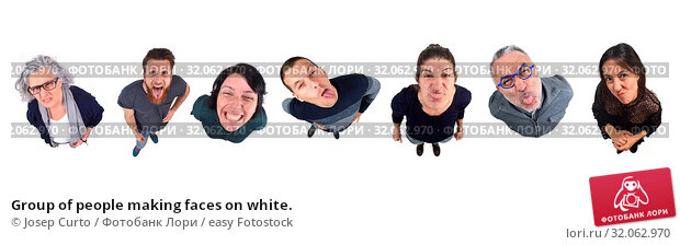 Group of people making faces on white. Стоковое фото, фотограф Josep Curto / easy Fotostock / Фотобанк Лори