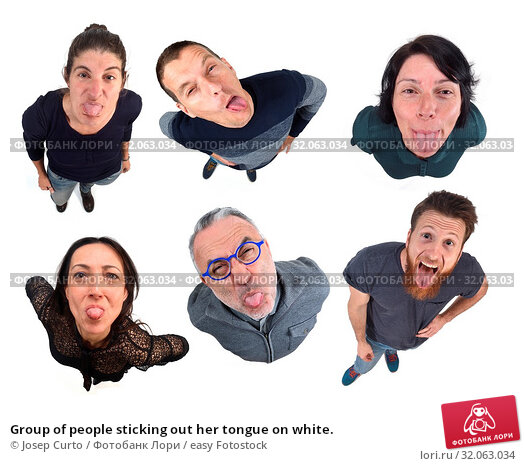 Group of people sticking out her tongue on white. Стоковое фото, фотограф Josep Curto / easy Fotostock / Фотобанк Лори