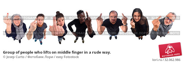 Group of people who lifts on middle finger in a rude way. Стоковое фото, фотограф Josep Curto / easy Fotostock / Фотобанк Лори