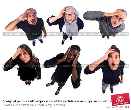 Group of people with expression of forgetfulness or surprise on white background. Стоковое фото, фотограф Josep Curto / easy Fotostock / Фотобанк Лори