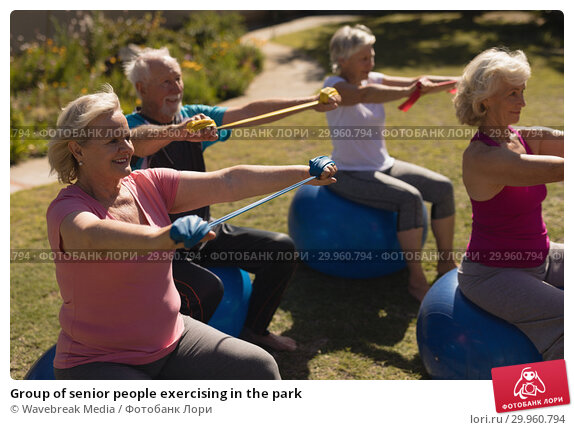 Group of senior people exercising in the park. Стоковое фото, агентство Wavebreak Media / Фотобанк Лори