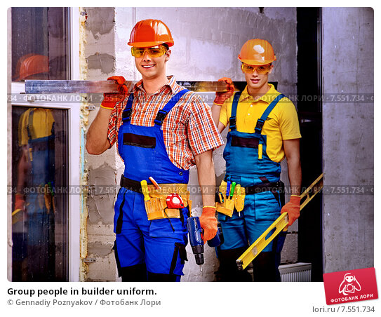 Купить «Group people in builder uniform.», фото № 7551734, снято 9 ноября 2013 г. (c) Gennadiy Poznyakov / Фотобанк Лори