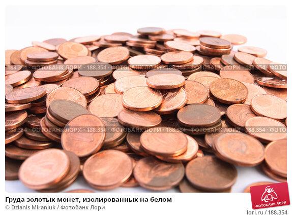 Груда золотых монет, изолированных на белом, фото № 188354, снято 10 ноября 2007 г. (c) Dzianis Miraniuk / Фотобанк Лори