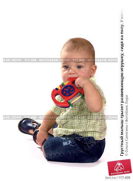 Купить «Грустный малыш грызет развивающую игрушку, сидя на полу. У него режутся зубы», фото № 117498, снято 7 ноября 2007 г. (c) Ольга Сапегина / Фотобанк Лори
