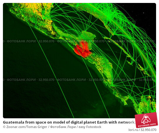 Guatemala from space on model of digital planet Earth with network. Concept of digital technology, connectivity and travel. 3D illustration. Elements of this image furnished by NASA. Стоковое фото, фотограф Zoonar.com/Tomas Griger / easy Fotostock / Фотобанк Лори