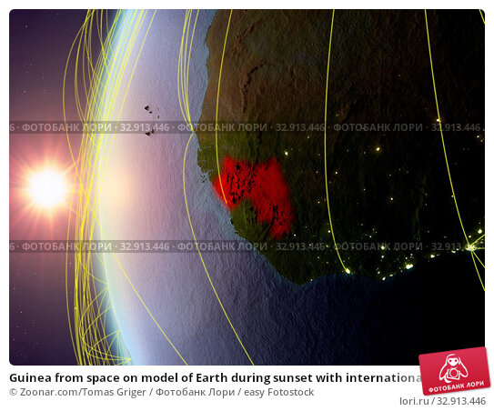 Guinea from space on model of Earth during sunset with international network. Concept of digital communication or travel. 3D illustration. Elements of this image furnished by NASA. Стоковое фото, фотограф Zoonar.com/Tomas Griger / easy Fotostock / Фотобанк Лори