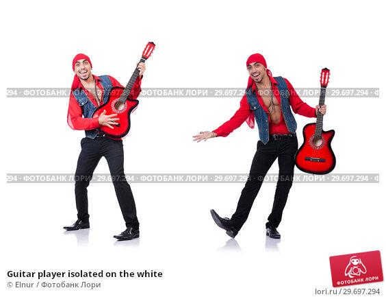 Купить «Guitar player isolated on the white», фото № 29697294, снято 19 января 2013 г. (c) Elnur / Фотобанк Лори