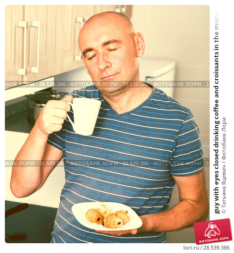 Купить «guy with eyes closed drinking coffee and croissants in the morning», фото № 28539386, снято 20 июня 2018 г. (c) Татьяна Яцевич / Фотобанк Лори