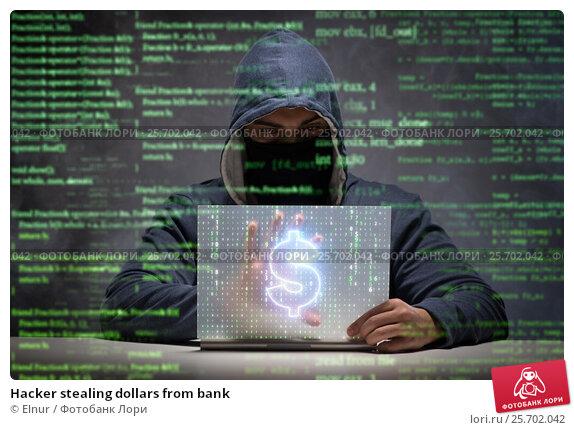 Купить «Hacker stealing dollars from bank», фото № 25702042, снято 22 апреля 2019 г. (c) Elnur / Фотобанк Лори