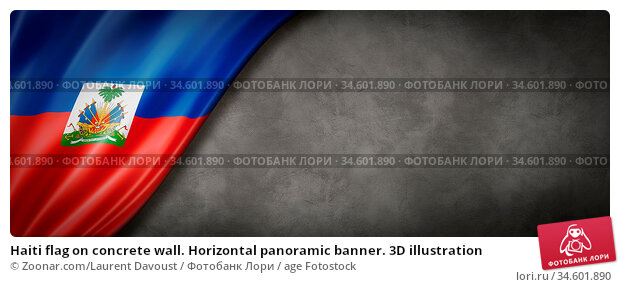 Haiti flag on concrete wall. Horizontal panoramic banner. 3D illustration. Стоковое фото, фотограф Zoonar.com/Laurent Davoust / age Fotostock / Фотобанк Лори