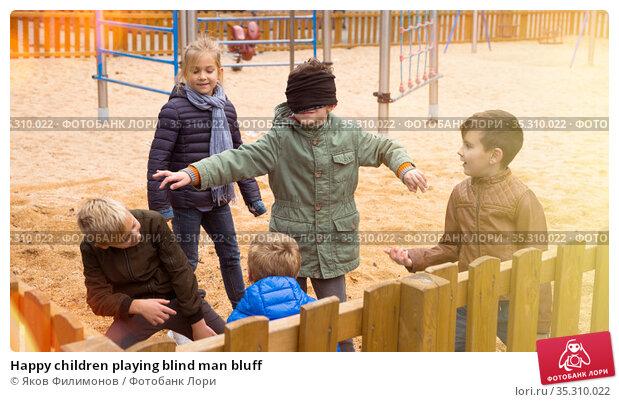 Happy children playing blind man bluff. Стоковое фото, фотограф Яков Филимонов / Фотобанк Лори