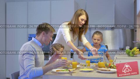Купить «Happy family with children at home», видеоролик № 24709198, снято 31 января 2019 г. (c) Raev Denis / Фотобанк Лори