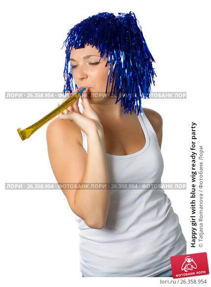 Happy girl with blue wig ready for party. Стоковое фото, фотограф Tatjana Romanova / Фотобанк Лори