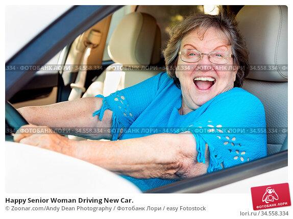 Happy Senior Woman Driving New Car. Стоковое фото, фотограф Zoonar.com/Andy Dean Photography / easy Fotostock / Фотобанк Лори