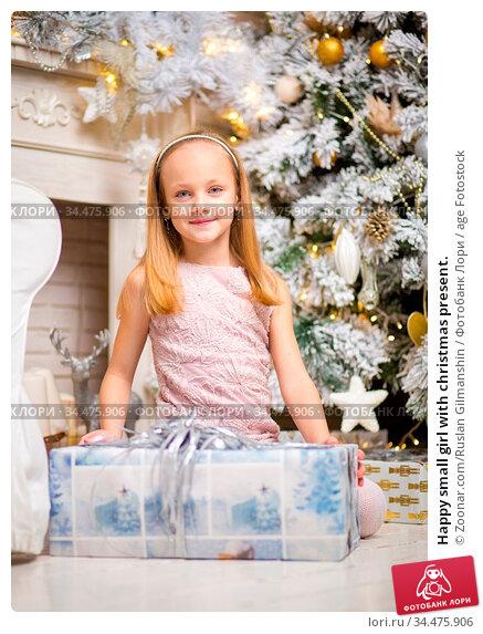 Happy small girl with christmas present. Стоковое фото, фотограф Zoonar.com/Ruslan Gilmanshin / age Fotostock / Фотобанк Лори