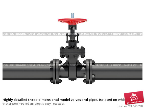 Highly detailed three-dimensional model valves and pipes. Isolated on white background. Стоковое фото, фотограф cherezoff / easy Fotostock / Фотобанк Лори