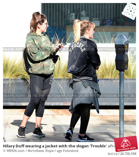 Купить «Hilary Duff wearing a jacket with the slogan 'Trouble' after a workout Featuring: Hilary Duff Where: Los Angeles, California, United States When: 28 Dec 2016 Credit: WENN.com», фото № 28700598, снято 28 декабря 2016 г. (c) age Fotostock / Фотобанк Лори