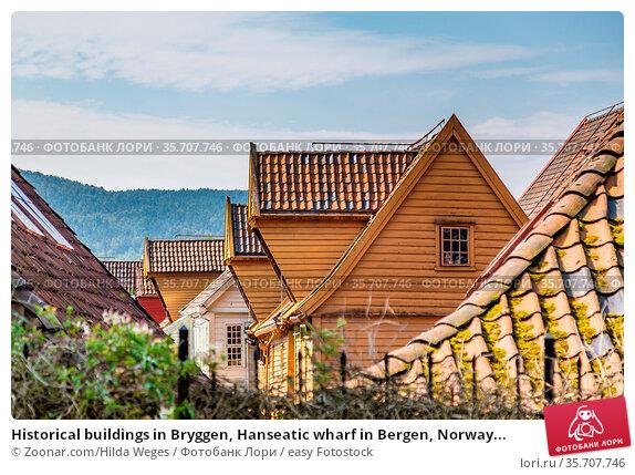 Historical buildings in Bryggen, Hanseatic wharf in Bergen, Norway... Стоковое фото, фотограф Zoonar.com/Hilda Weges / easy Fotostock / Фотобанк Лори