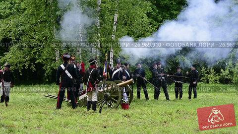 Купить «Historical reconstruction Napoleonic wars», видеоролик № 26969910, снято 25 августа 2017 г. (c) Vladimir / Фотобанк Лори