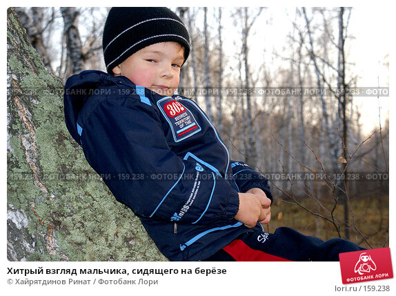 Хитрый взгляд мальчика, сидящего на берёзе, фото № 159238, снято 20 октября 2007 г. (c) Хайрятдинов Ринат / Фотобанк Лори