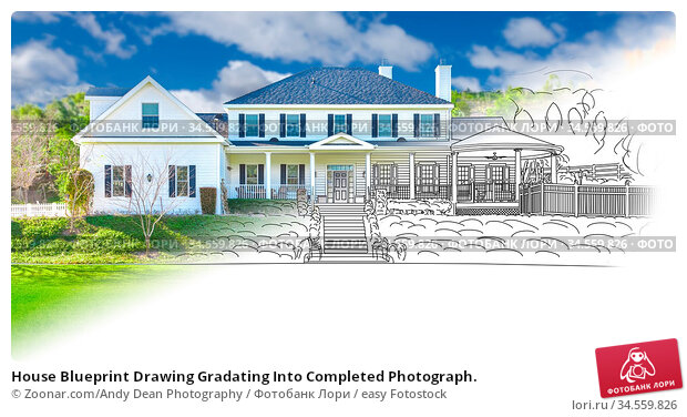 House Blueprint Drawing Gradating Into Completed Photograph. Стоковое фото, фотограф Zoonar.com/Andy Dean Photography / easy Fotostock / Фотобанк Лори
