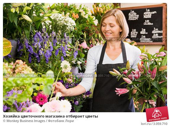 Купить «Хозяйка цветочного магазина отбирает цветы», фото № 3059710, снято 14 мая 2000 г. (c) Monkey Business Images / Фотобанк Лори