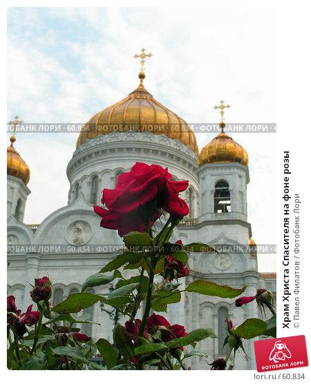 Храм Христа Спасителя на фоне розы, фото № 60834, снято 20 июля 2005 г. (c) Павел Филатов / Фотобанк Лори