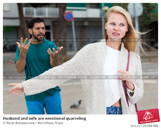 Купить «Husband and wife are emotional quarreling», фото № 29098986, снято 10 августа 2017 г. (c) Яков Филимонов / Фотобанк Лори